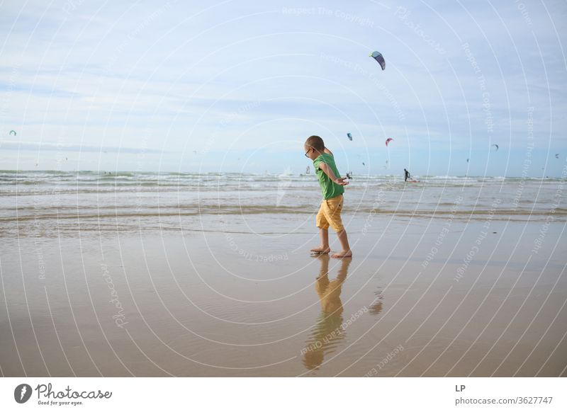 child dancing on the beach Dance floor Dance performance Dancer Beach Water Seasons Summer Summer vacation Summery Walking Ocean Movement Joy Human being