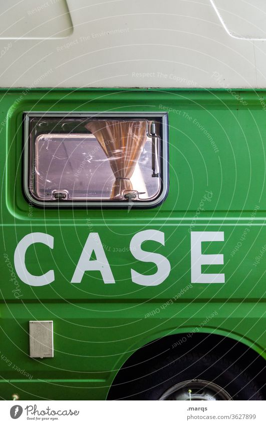 Topcase Bus Mobile home travel Typography green White Window Mobility individuality Leisure and hobbies Freedom Camping