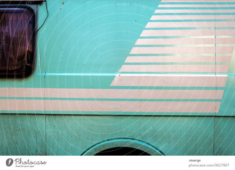 Camper turquoise Mobile home Vacation & Travel Window Camping Bus Caravan Adventure Design Colour Freedom Vehicle Lifestyle Means of transport Stripe Old