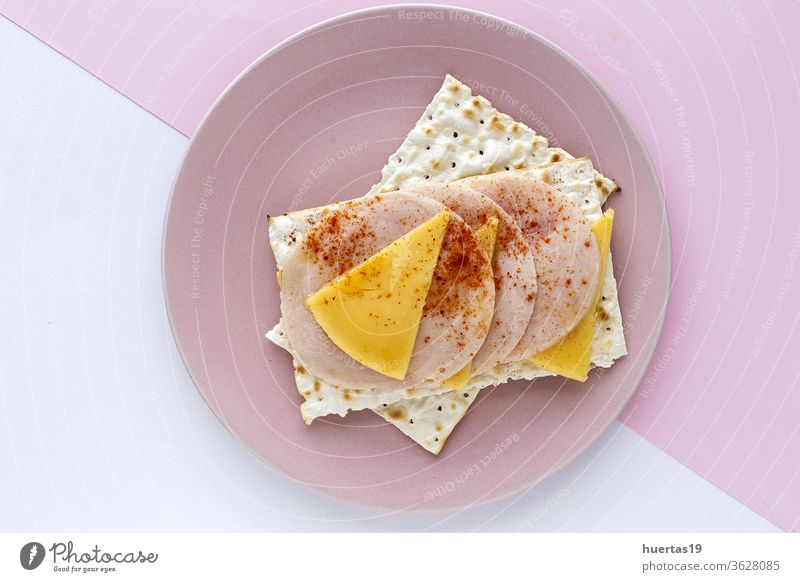 Salty crackers with sausage chicken, cheese and paprika snack food cuisine spread meal cream delicious breakfast homemade healthy healthy food fresh lunch slice