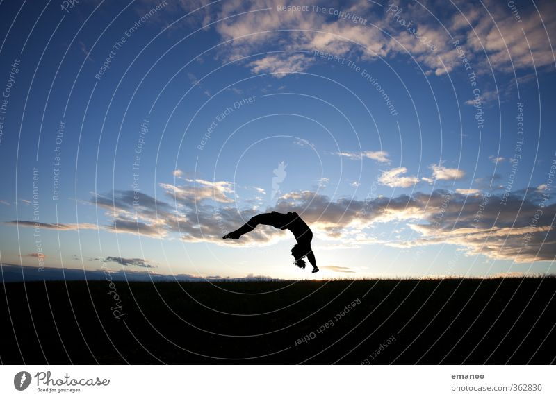 Human being Woman Sky Youth (Young adults) Blue Landscape Joy Black Adults Sports Feminine Movement Grass Style Jump Horizon