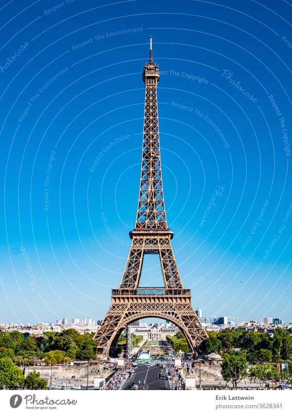 Eiffel Tower in Paris - view from Trocadero paris travel europe female france french happy young city beautiful landmark tourism tourist vacation summer girl