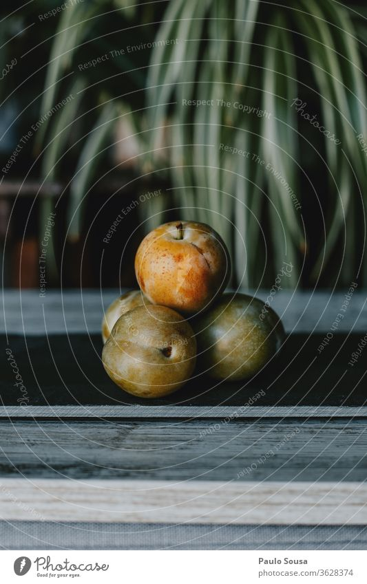 Plums Greengage fruit on the table Organic produce Fruit Fruity Reine claude Deserted Healthy Exterior shot Fresh Vegetarian diet Delicious Food Natural