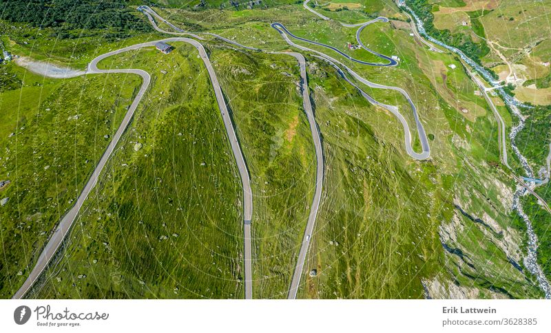 Famous Furkapass in the Swiss Alps - Switzerland from above Nature aerial photography travel view alps cloud landscape high horizon idyllic journey natural