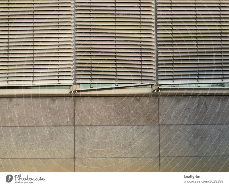 Three lowered slat blinds on an office building Slat blinds Screening Structures and shapes Venetian blinds Exterior shot Window Pattern Day Light and shadow