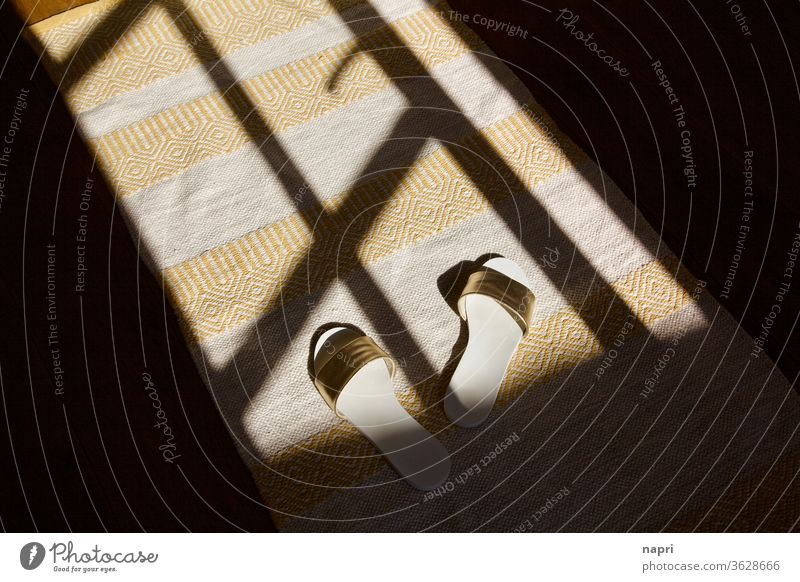 Tilted out of the slippers   mules in the shadow play of the open terrace door of a summer house (es) Summer Summer vacation Vacation mood Ease Shadow play