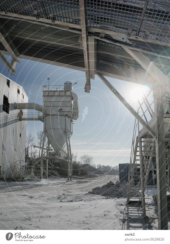 tap Gravel plant Filling machine Silo reeds Supply Roof Stairs Metal unwieldy Old work Workplace Sand Industry Industrial plant Industrial district
