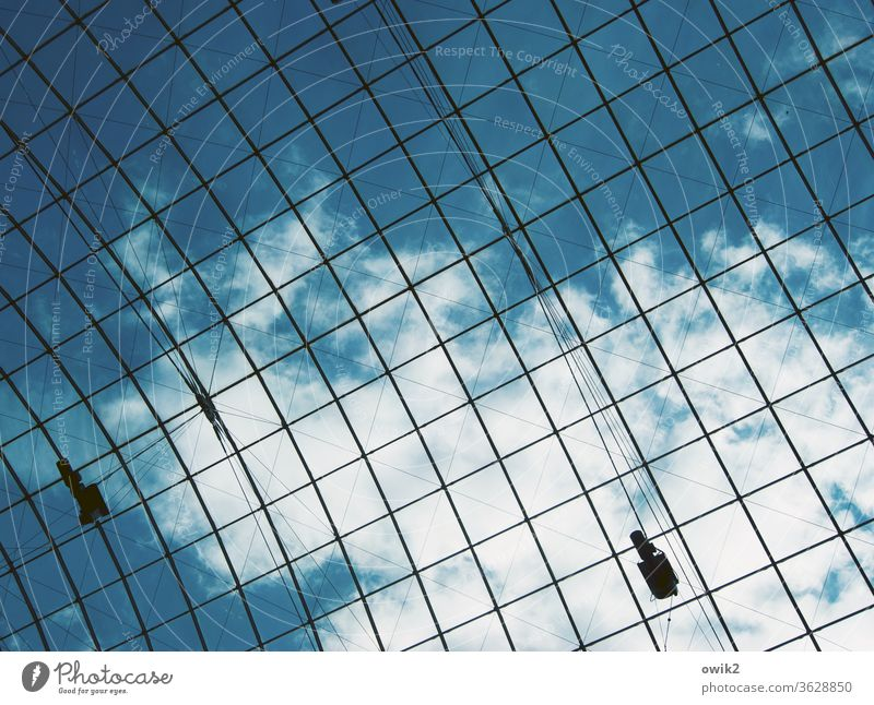About us Grating Glass roof Sky Clouds Above Interior shot Architecture Roof Day Blue White Metal Construction Protection Abstract Detail Upward Pattern