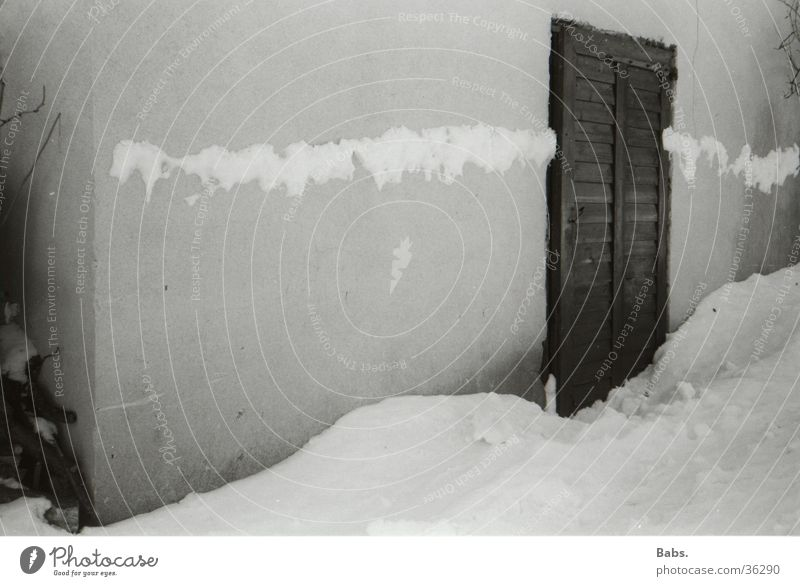 winter impression Snowdrift House (Residential Structure) Wall (barrier) Architecture Door