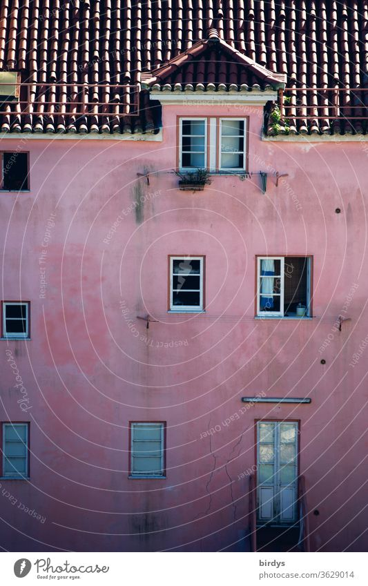 pink painted façade with windows, tiled roof and a dormer Facade Window door Pink Roof Dormer dachgaupe Weathered Authentic dwell living space Rent