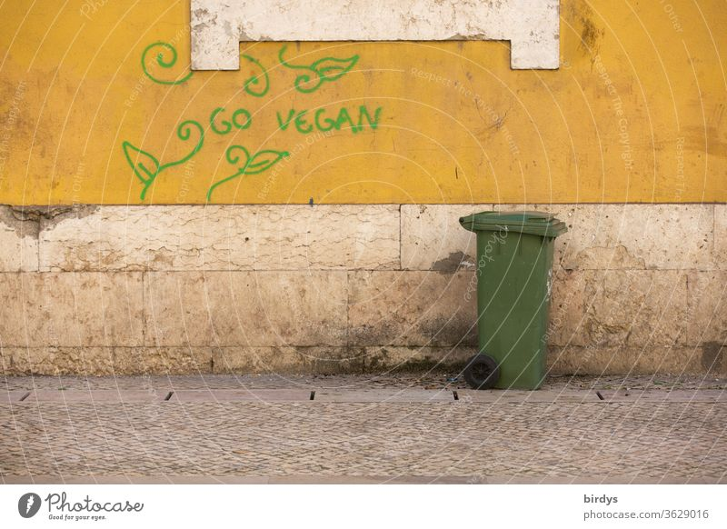 go vegan. Graffiti on a house wall. Go vegan, against animal husbandry and cruelty. Healthy food. Vegan diet invitation Plant symbols off green Yellow Gray