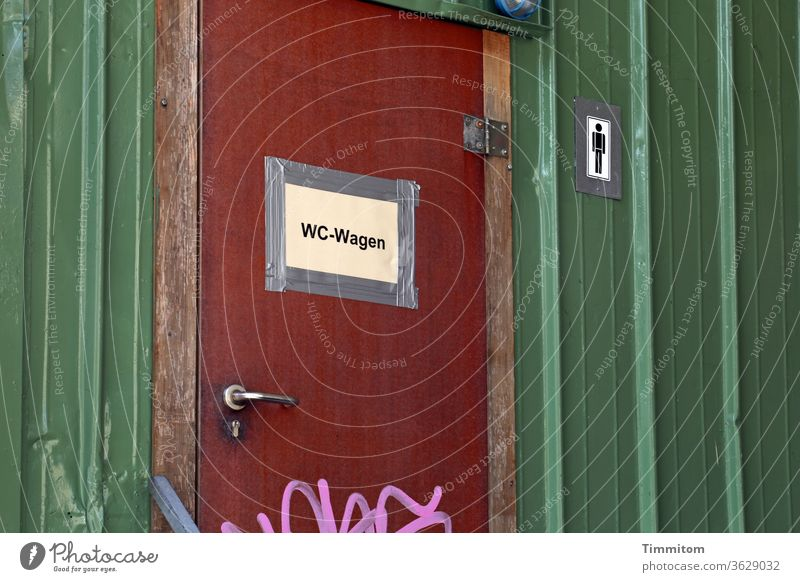 Door WC trolley door sign LAVATORY Sanitary Symbols and metaphors Man Toilet Deserted john Closed