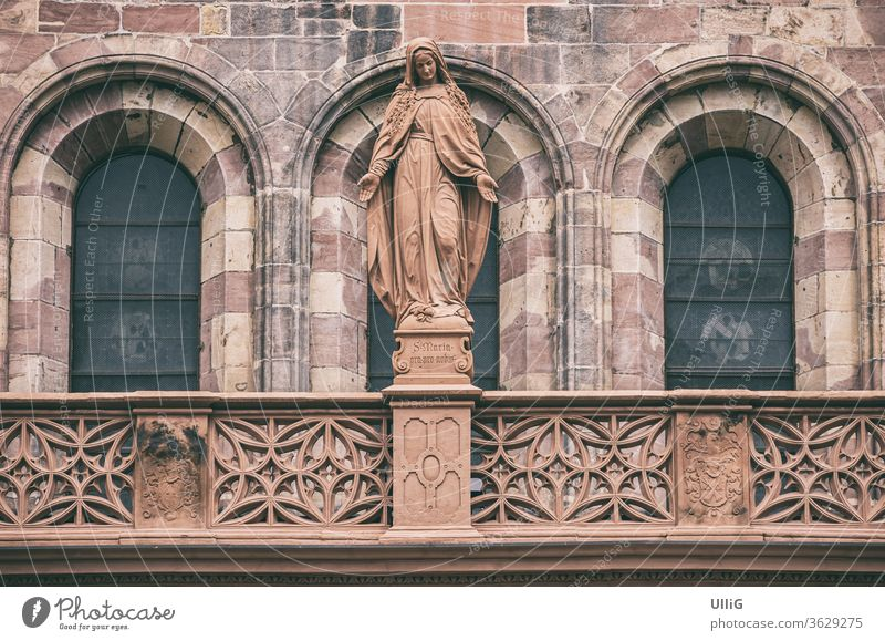 Madonna figure at Freiburg Cathedral - Sculpture of the Virgin Mary at the Cathedral of Our Lady, Freiburg im Breisgau, Baden-Wurttemberg, Germany.