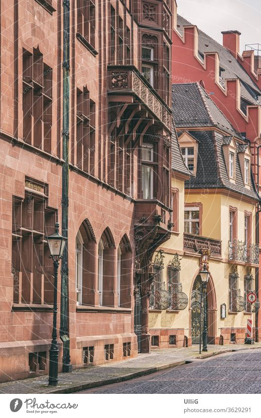 Historical Architecture, Freiburg, Germany - Historical architecture in the deserted Franziskaner Street in the Old Town of Freiburg im Breisgau, Baden-Wurttemberg, Germany.