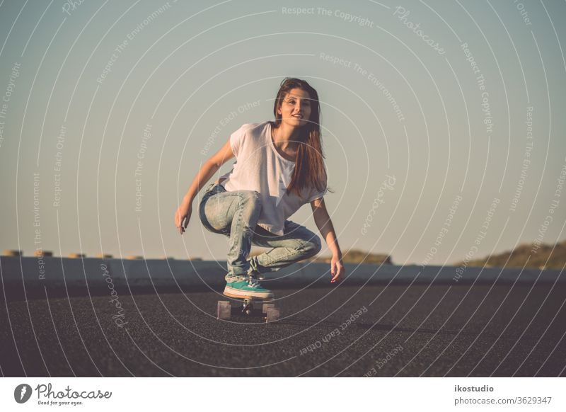 Skater Girl woman skater longboard skateboard girl young cool skateboarding beautiful road lifestyle fashion downhill sport urban street fun happy female youth