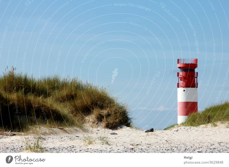 red-white lighthouse stands in front of blue sky at the edge of the dune of Helgoland Lighthouse Manmade structures Architecture Sand Island North Sea