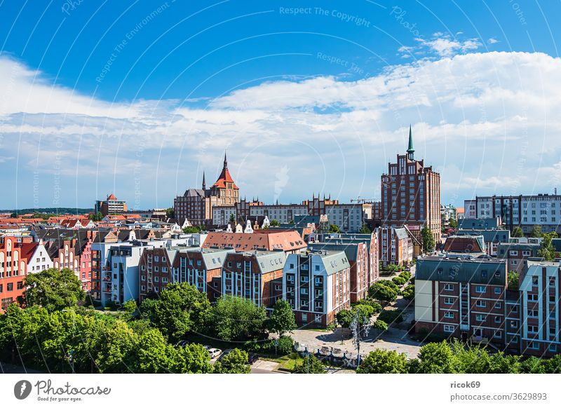 View of historical buildings in the Hanseatic City of Rostock Town Mecklenburg-Western Pomerania Architecture houses built Landmark Tourist Attraction Church