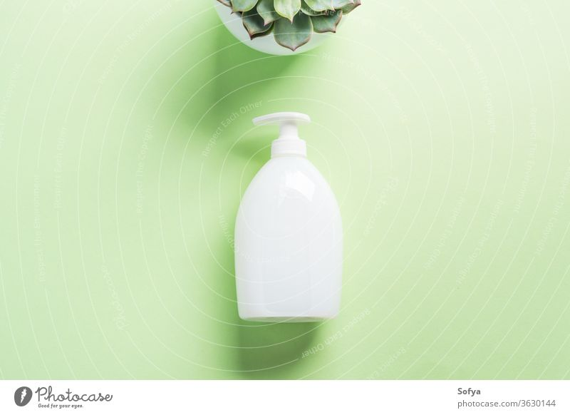 White natural soap bottle on pastel green dispenser generic cream flat lay hand hygiene mockup design beauty body bottles care clean succulent conditioner