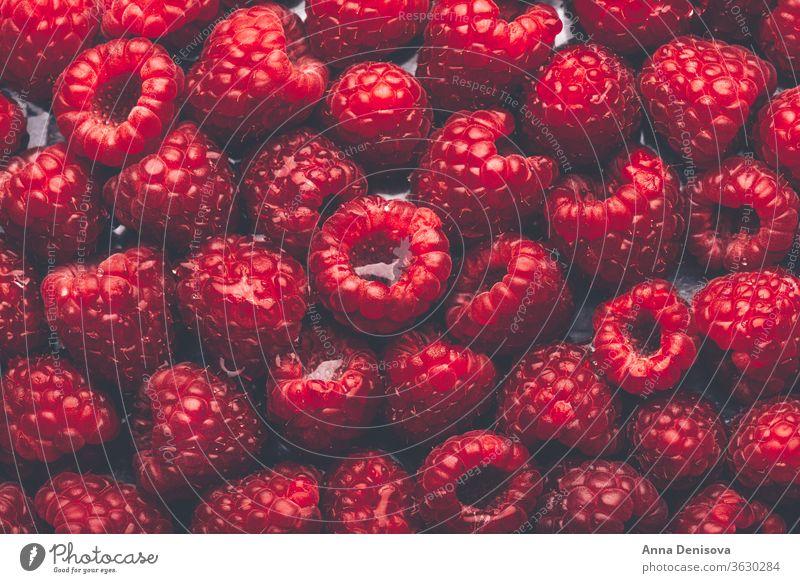 Macro of fresh raspberries Raspberry Berries Summer Mature Delicious macro Nutrition Tasty Diet Red Food Sweet nourishing Garden plan flat laying Healthy