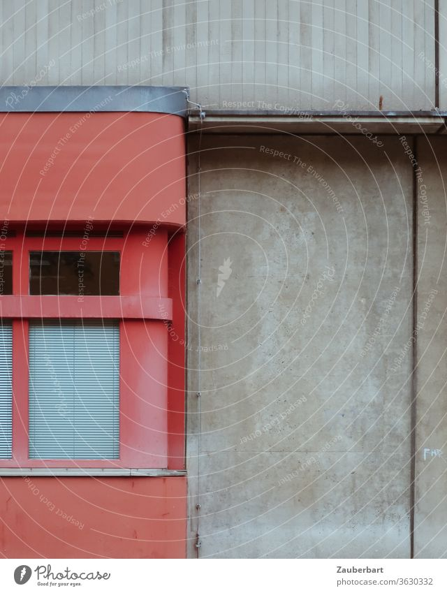 Detail of the facade of a fire brigade building in Berlin Neukölln in red and grey Facade Fire department Red Gray Concrete Wall (building) Goal Window