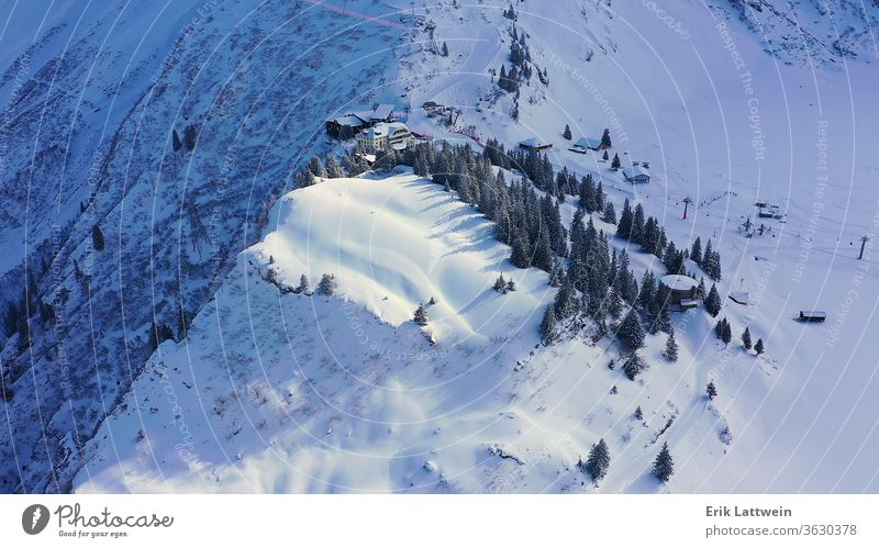 Flight over a snowy mountains in winter - wonderful Swiss Alps landscape cover beautiful scene forest alp background cold fairytale fir frost holiday ice