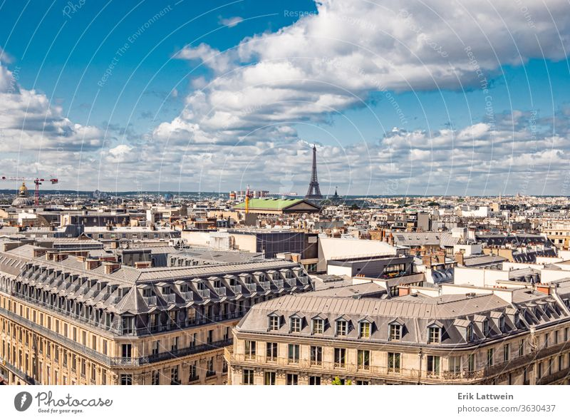 Aerial view over Paris with Eiffel Tower paris travel europe female france french happy young city beautiful landmark tourism tourist vacation summer girl