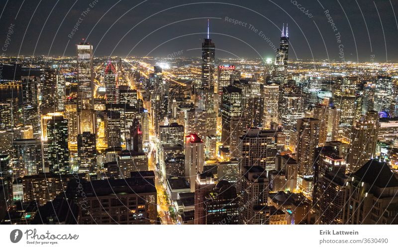 The city of Chicago at night - wonderful view from above - CHICA skyline architecture Illinois downtown urban cityscape usa skyscraper sunset reflection river