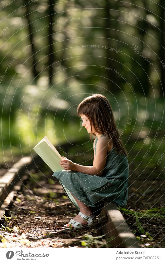 Girl reading book in park shock girl preteen story interesting garden little summer dress kid excited child adorable cute childhood forest focus concentrated
