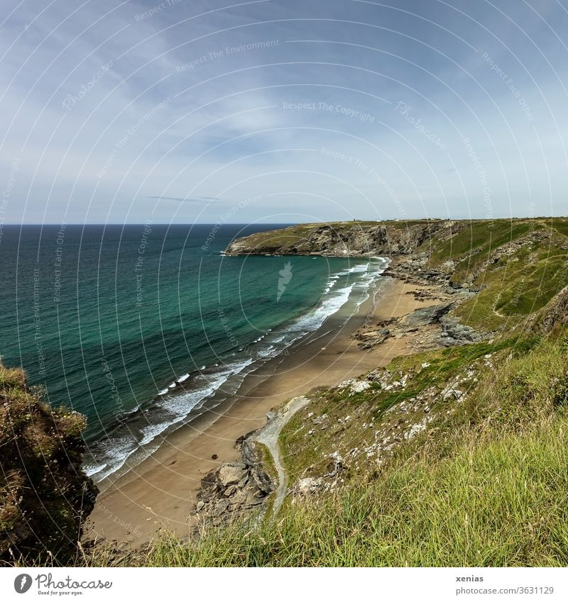 Trebarwith beach in Cornwall in good weather in summer Beach Coast Water Vacation & Travel green Blue Panorama (View) Landscape Nature Ocean Maritime Rock Waves