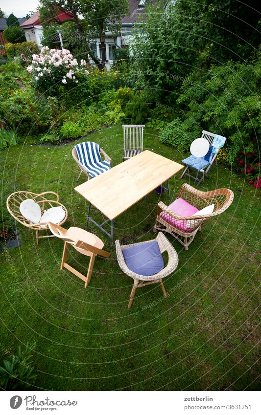 Table with chairs Relaxation Family holidays Garden Outdoor furniture garden party fellowship conversation Grass allotment Garden allotments communication