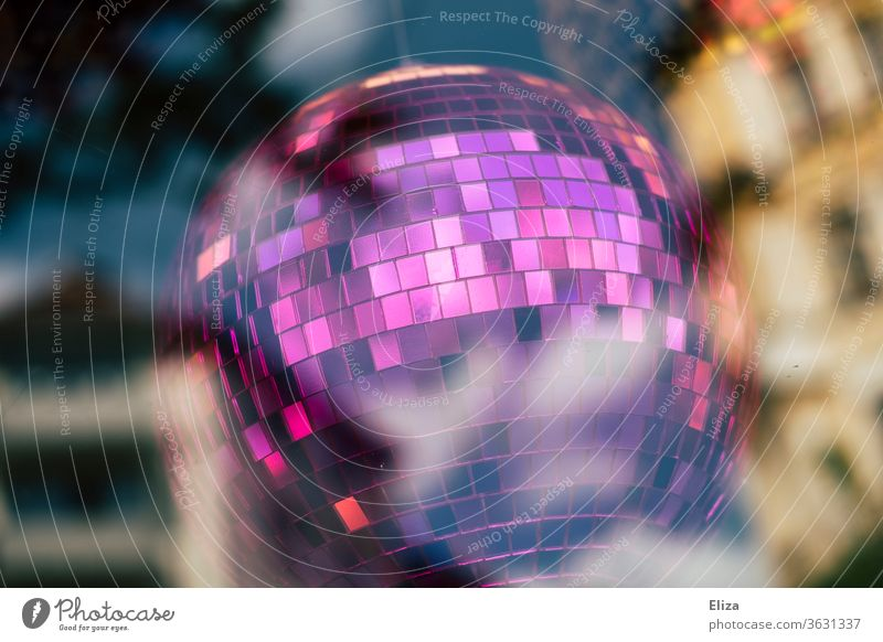 Purple disco ball Disco ball Party purple Club Reflection Night life Feasts & Celebrations Event Clubbing Decoration