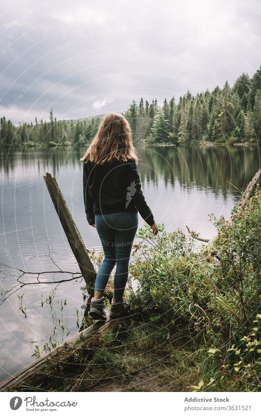 Anonymous traveling woman enjoying lake landscape forest nature freedom harmony shore female water journey tourism adventure algonquin provincial park canada