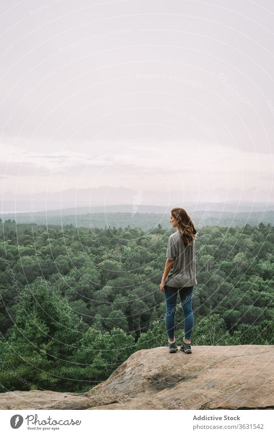 Relaxed woman enjoying view from mountain forest nature relax stand travel hike algonquin provincial park landscape lake river sunny admire tranquil harmony