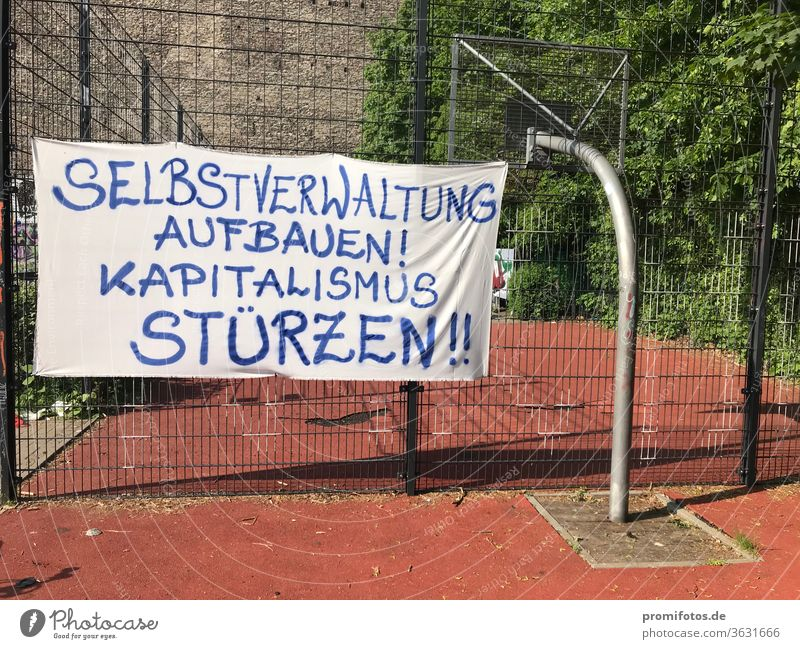 "Scarf: ""Establish self-administration! Overthrow capitalism!"". Seen in Berlin. protest Capitalism policy Economy Company Germany neoliberalism privatization"
