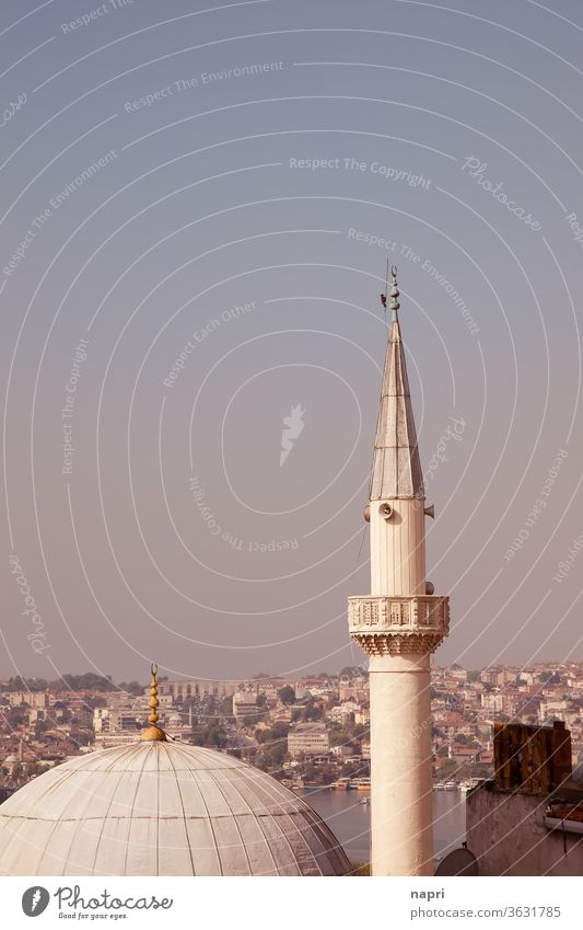 Dome and minaret of a mosque on the European side of Istanbul, with a bird clinging to its top. Minaret Mosque Islam Religion and faith Tower turkey