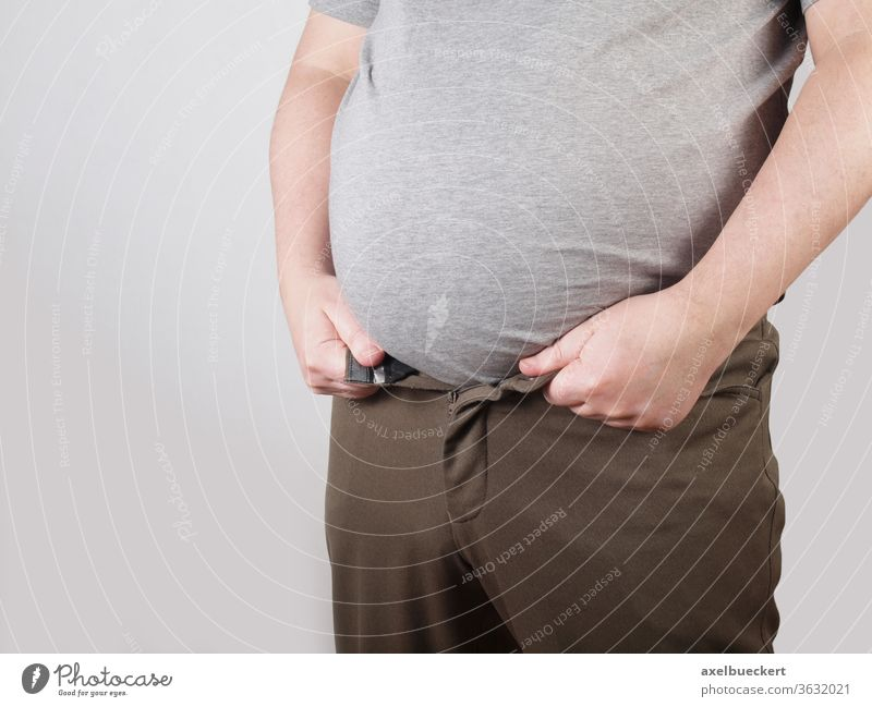 thick belly - pants do not fit anymore Stomach Fat Overweight Obesity Weight Healthy Beer belly Man Manly Diet Pants Unhealthy Figure Body obesely