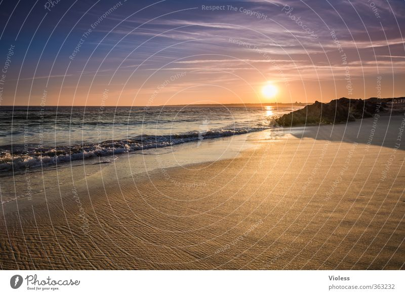 Vacation & Travel Summer Sun Ocean Relaxation Landscape Calm Joy Beach Far-off places Coast Freedom Waves Illuminate Beautiful weather Romance