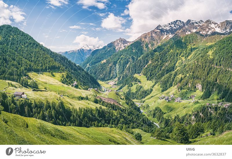 Passeier Valley, South Tyrol, Italy - View over the Passeier Valley above Moos near Rabenstein, South Tyrol, Italy. mountain Landscape Nature scenery Alps Meran