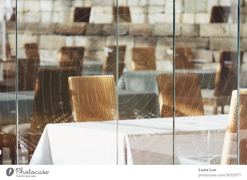 The café will remain closed... a view through the dirty windows, at least in sunlight Café Window Window pane tarnished Glass Slice Pane Transparent Reflection