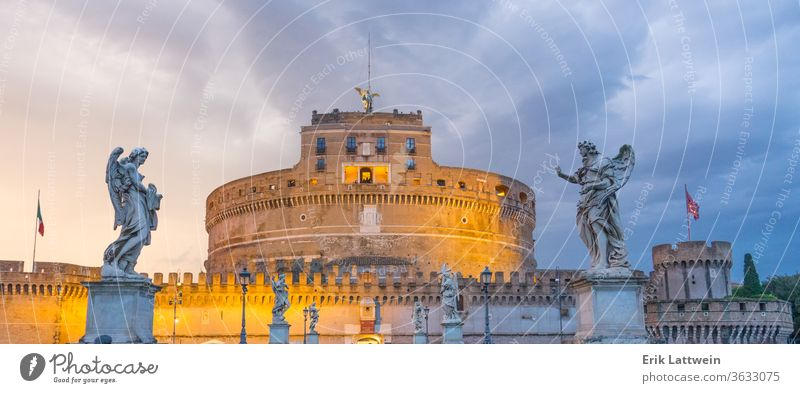 Very popular attraction in the City of Rome - The Castel Sant Angelo - Angels Castle Italy Vatican Italian capital city scapes Europe EU sightseeing travel