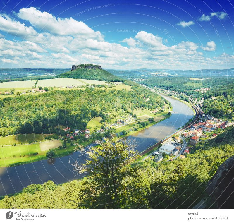 Elbe valley Panorama (View) Sunlight Day Copy Space top Colour photo Exterior shot Deserted Sandstone National Park Miracle of Nature Sublime Vantage point Flow