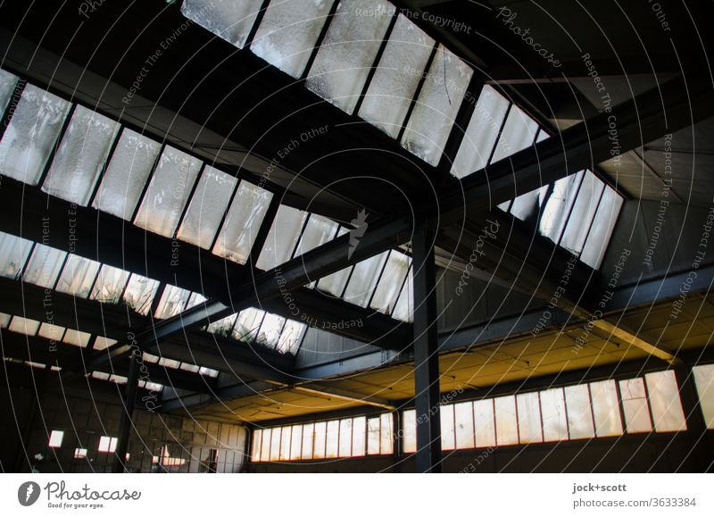 Symmetry hall roof Past Column Wide angle Transience Style Retro Change lost places Vacancy Ravages of time GDR Shaft of light Derelict Structures and shapes