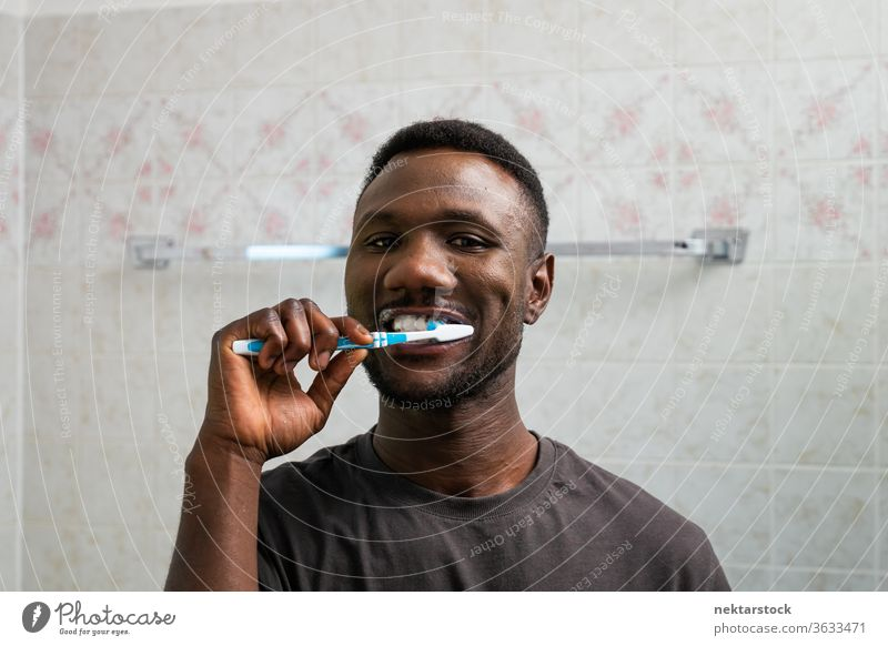Young Black Man Brushing Teeth Thoroughly brushing teeth toothbrush 1 person African ethnicity grooming toothpaste looking at camera mouth thorough meticulous
