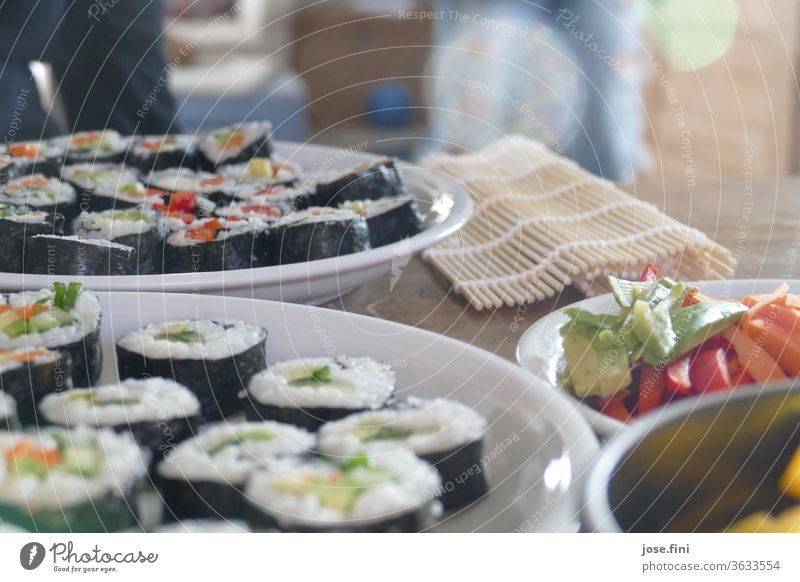 homemade vegetarian sushi with various vegetables and sushi mat in the background tribunal Cooking Sushi Self-made Nutrition Meal Asian Food Delicious Lunch