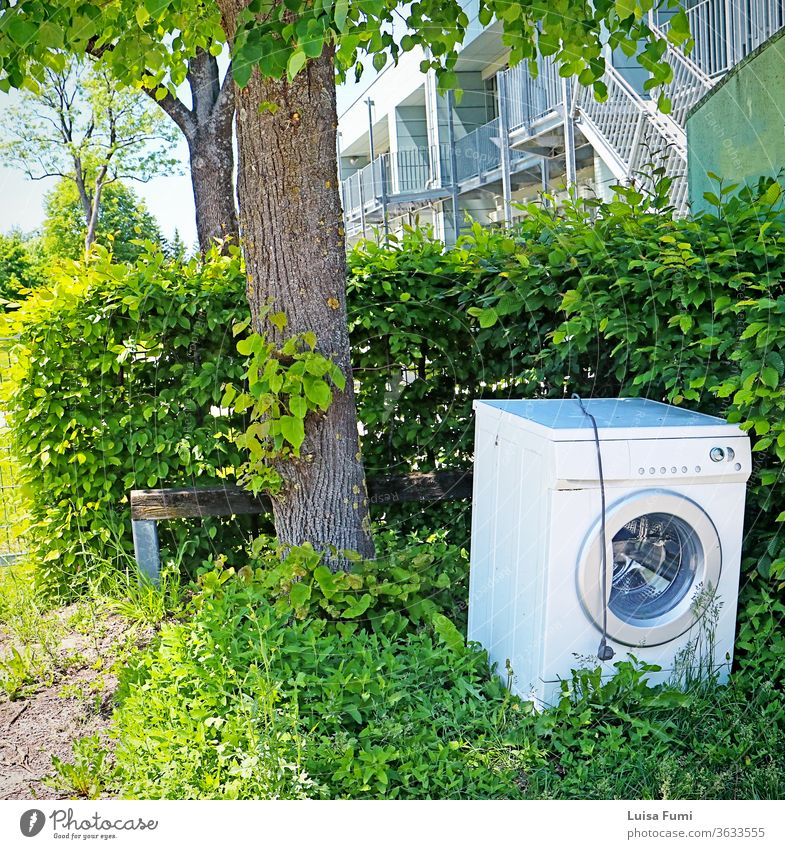 A washing machine dumped as garbage and abandoned on the sidewalk, sharply contrasting with the green environment discarded cityscape litter clean laundry tree