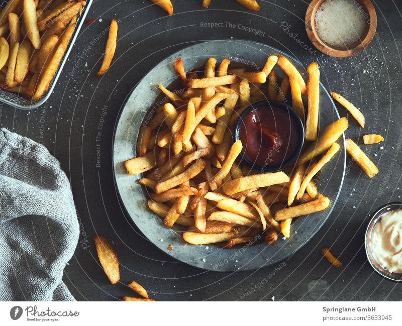 fries French fries Ketchup chip shop Fast food Self-made foodie Foodlover Eating Fat Appetite Plate Potatoes potato