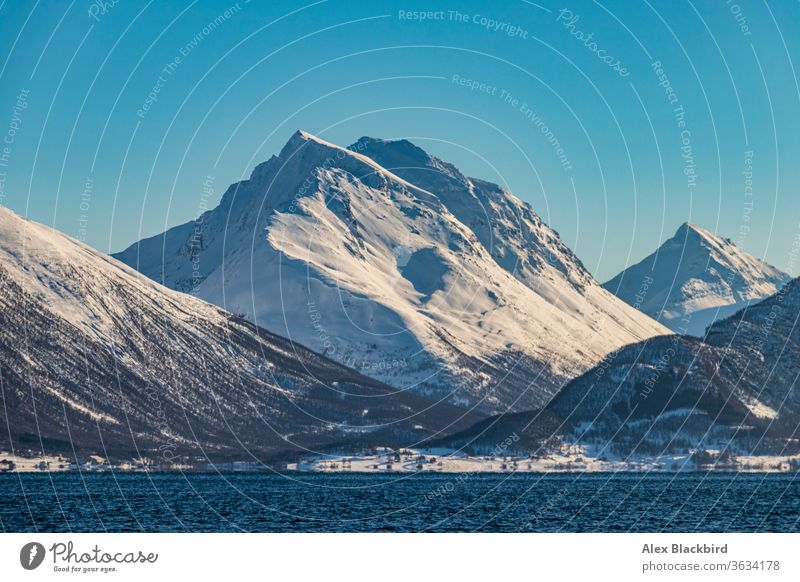 Mountain over the fjord tromso norway norwegian fjords europe ice winter north alaska arctic cruise boat breathtaking cold destination discover landscape