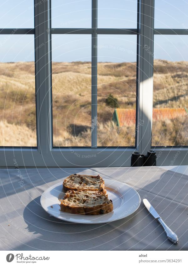 Raisin mares on Juist vacation Juist island North Sea dunes outlook View from a window tranquillity relaxation raisin mares Breakfast Off-Season morning mood