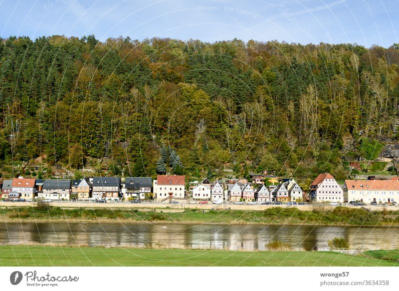 View over the Elbe to the district Postelwitz near Bad Schandau with the 7 brother houses Elbufer Postal joke Saxony Saxon Switzerland 7 Brothers Houses