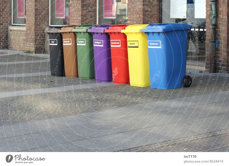 where to go with - envy, bureaucracy, nitpicking, stubbornness, stubbornness, malicious joy, intolerance - off to the bin Waste bins variegated colored symbolic